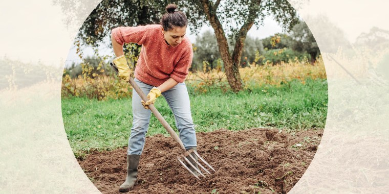 Gardener working with pitchfork in the field, wearing gardening boots. Here are some of the best gardening boots right now. Shop gardening boots that are waterproof, weather-resistant and easy to clean, according to experts.