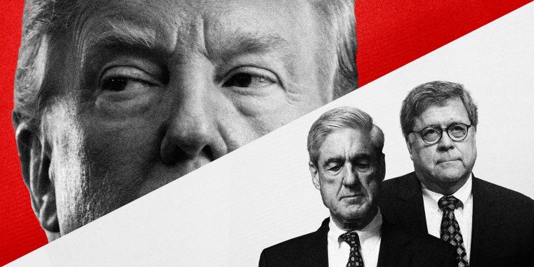 Illustration of former President Donald Trump, Robert Mueller, and former AG William Barr.