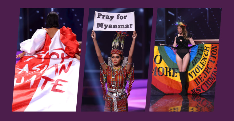 Miss Universe contestants from from Singapore, Myanmar and Uruguay used their platforms in the pageant to send powerful statements.