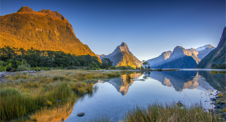 Dawn on the water's edge of the Deepwater Basin, Milford sound in the south island, New Zealand.