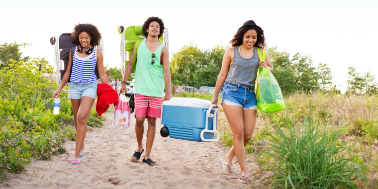 Friends carrying cooler and chairs while walking at beach against clear sky