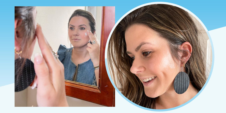 Casey DelBasso putting on a glowing JLO beauty product to her cheek and a after picture wit her cheek glowing
