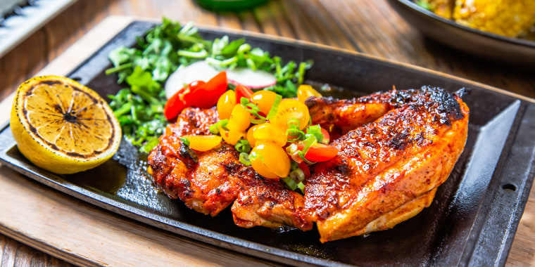 Photo of food on metal dish
