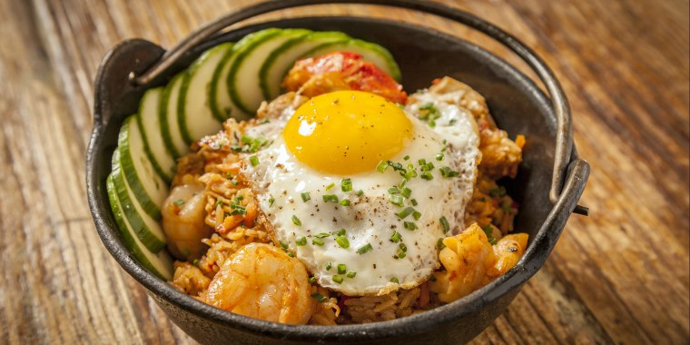 Photo of rice with a fried egg on top