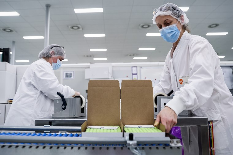 The factory of pharmaceutical company GlaxoSmithKline in Wavre, Belgium, on Feb. 8, 2021 where the Covid-19 CureVac vaccine will be produced.