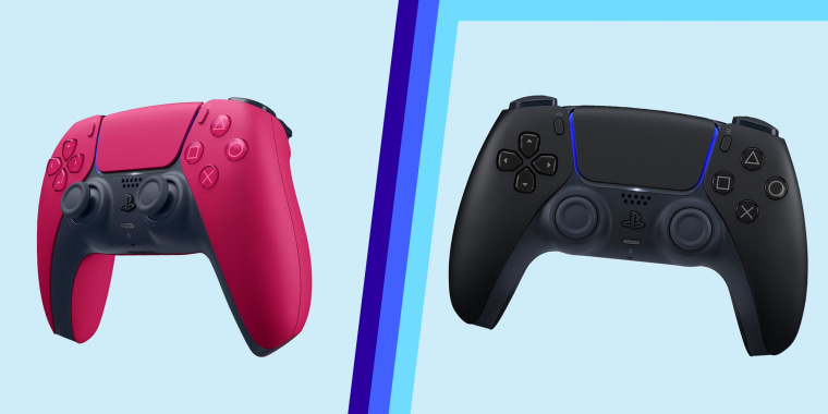 Illustration of the Playstation DualSense wireless controller in Midnight Black and Cosmic Red