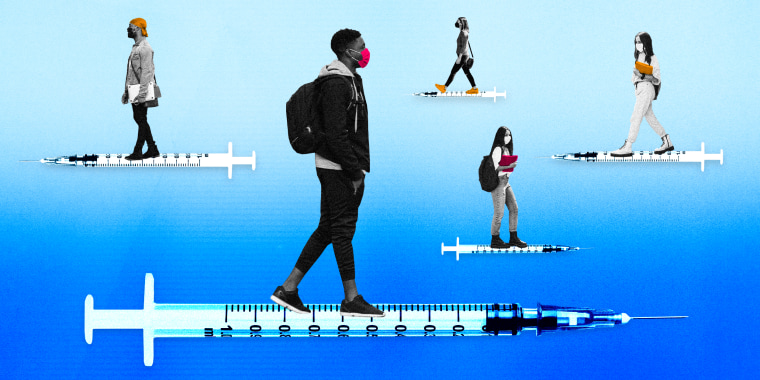Illustration of college-aged students in masks walking on syringes facing opposite directions