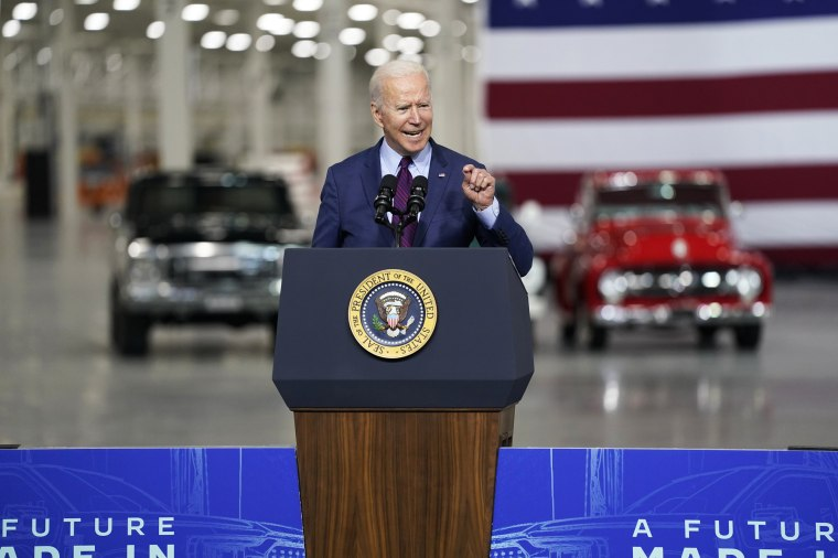 President Joe Biden speaks after a tour of the Ford Rouge EV Center on May 18, 2021, in Dearborn, Mich.