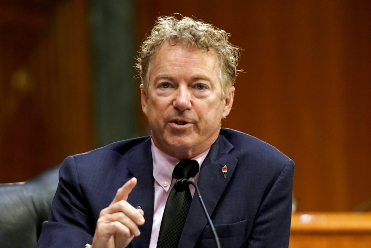 Image: Sen. Rand Paul,  R-Ky., during a hearing at the Capitol on May 11, 2021.