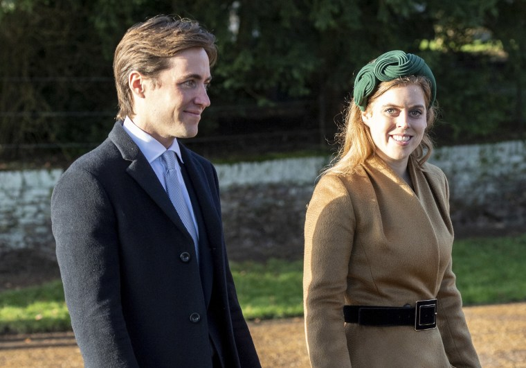 Image: Princess Beatrice and Edoardo Mapelli Mozziconi attend the Christmas Day Church service at Church of St Mary Magdalene on the Sandringham estate