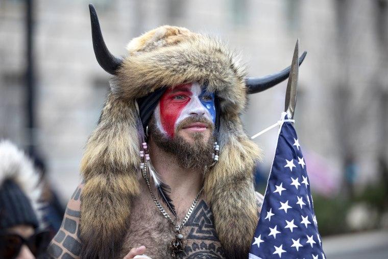 Jacob Chansley, who calls himself the QAnon shaman, at the Jan. 6 rally in Washington.