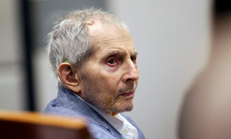 Image: Real estate heir Robert Durst looks over during his murder trial in Los Angeles