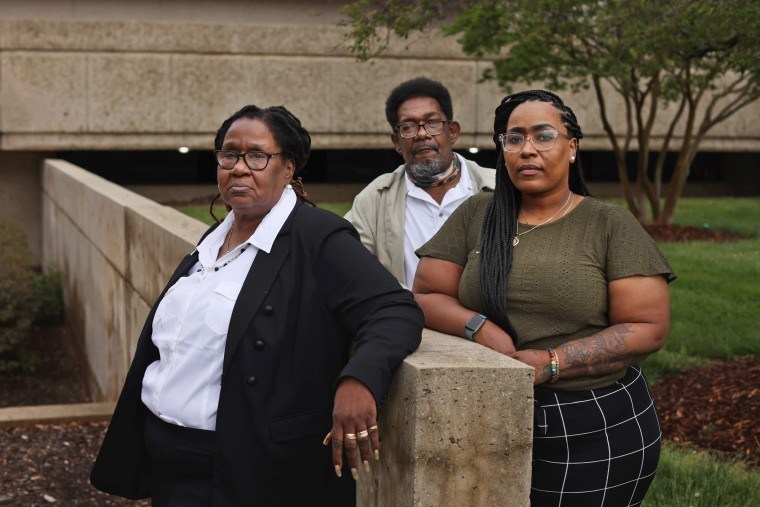 Marcus Smith's parents, Mary and George, and his sister, Kim Suber, outside of City Hall in Greensboro, N.C.