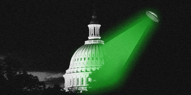 Photo illustration: An unidentified flying object throws green colored spotlight over the U.S. Capitol dome.