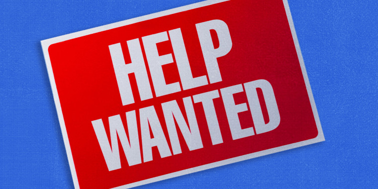 """Photo illustration: A titled \""""Help Wanted\"""" sign on a blue background."""