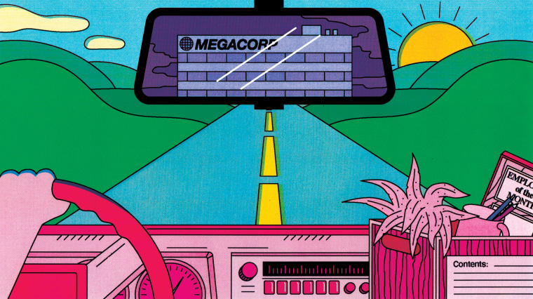 """Illustration of person driving away, with a box of desk items. \""""MEGACORP\"""" is seen on the building in the rearview mirror."""