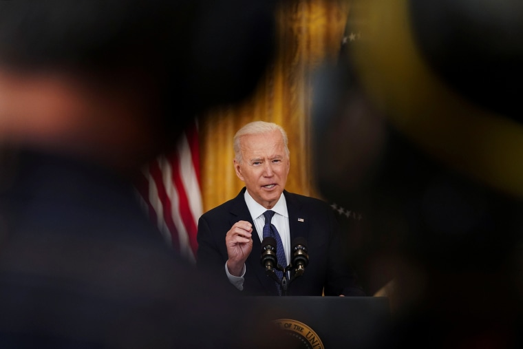 Image: President Biden speaks to reporters at the White House