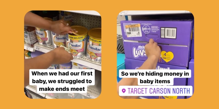 In an now viral Instagram reels video, Krystal Duhaney and her husband, Patrick, hide money inside baby products at Target.