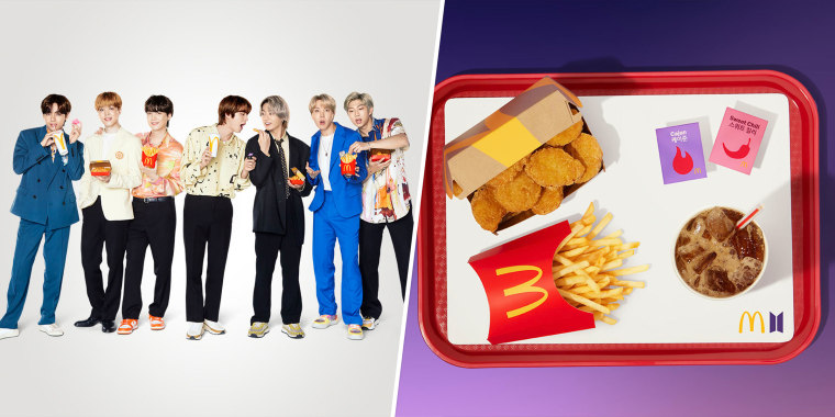 The BTS Meal includes a 10-piece Chicken McNuggets and dipping sauces inspired by McDonald's South Korea.