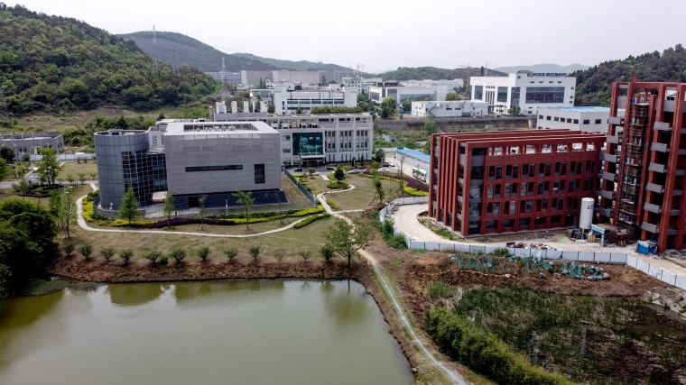 Image: The P4 laboratory, left, at the Wuhan Institute of Virology in Wuhan in China's central Hubei province on April 17, 2020.