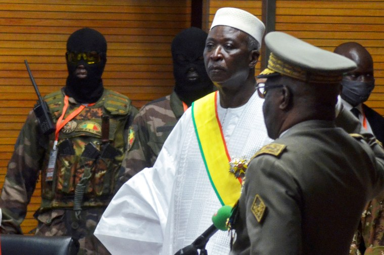 The new interim president of Mali, Bah Ndaw, is sworn in during the inauguration ceremony in Bamako on Sept. 25, 2020.