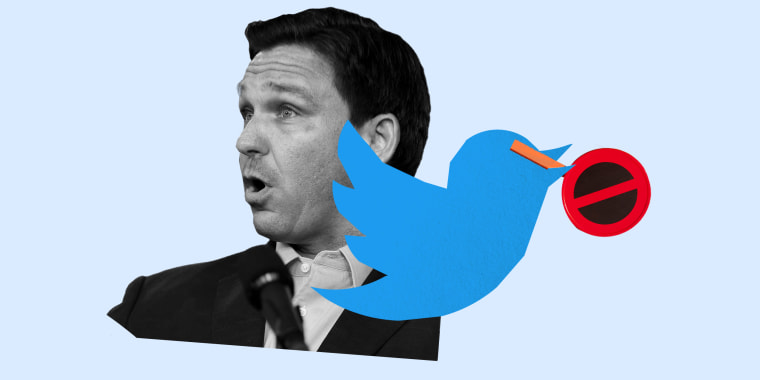 Photo illustration: Florida Governor, Ron DeSantis and the Twitter logo holding a stop sign.