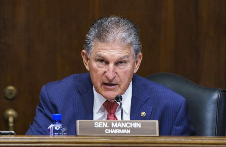 Sen. Joe Manchin, D-W.Va., presides over a confirmation hearing for presidential appointments on Capitol Hill on May 18, 2021.