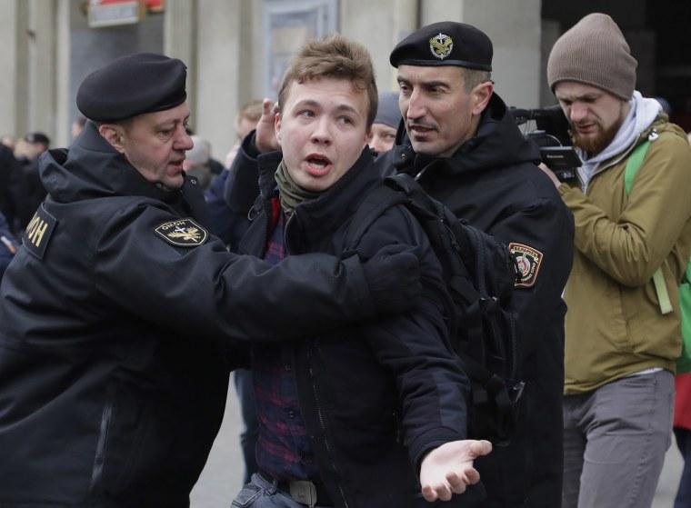 Image: Belarus police detain journalist Roman Protasevich in Minsk, Belarus