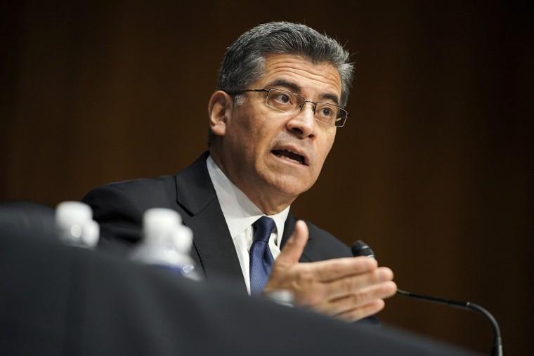 Xavier Becerra testifies during a Senate Finance Committee hearing on Capitol Hill, Feb. 24, 2021.