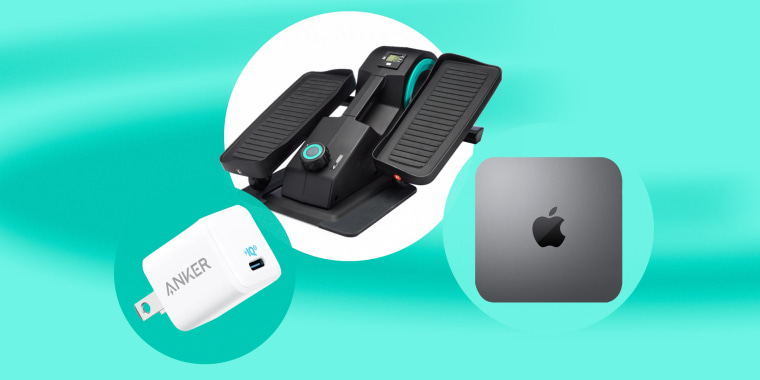 Illustration of three different product on sale. Apple Mini, Anker Nano Charger and the Cubii Jr. Elliptical Machine Turquoise