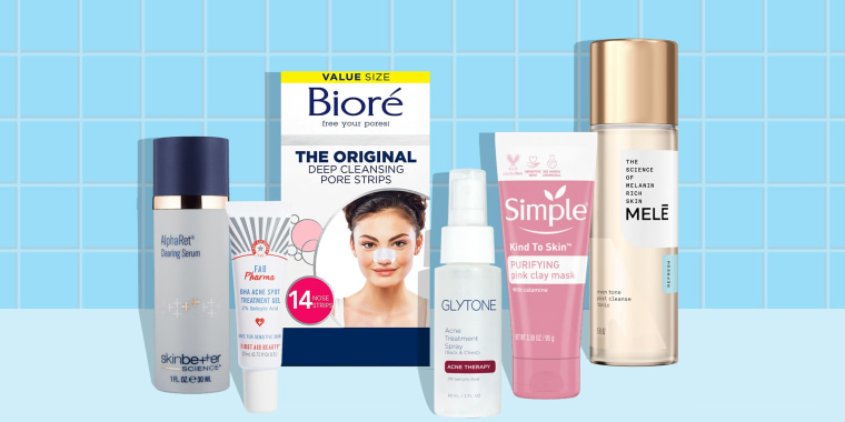 Illustration of different products to help get rid of blackheads