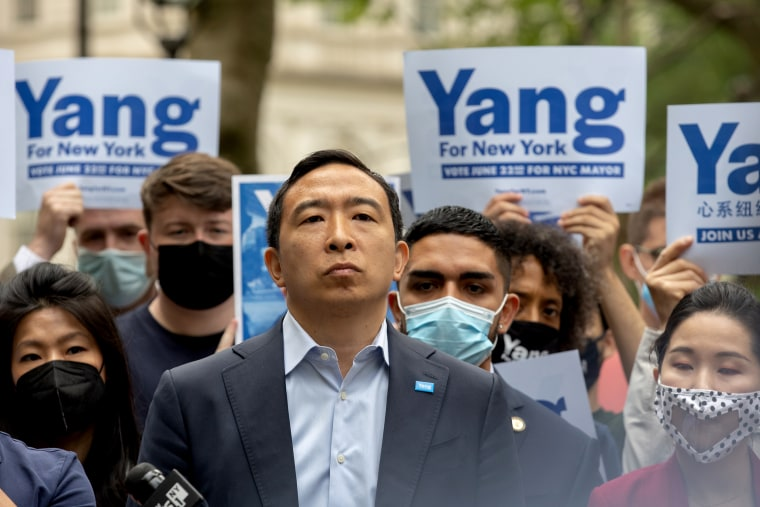 Andrew Yang, mayoral candidate for New York City, speaks during a campaign rally at City Hall Park in New York, on May 24, 2021.