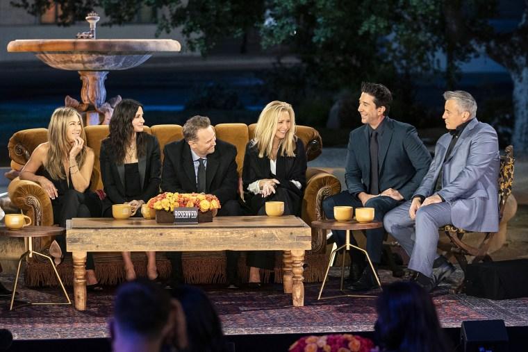 "Image: From left, Jennifer Aniston, Courteney Cox, Matthew Perry, Lisa Kudrow, David Schwimmer and Matt Leblanc appear on, \""Friends Reunion Special.\"""