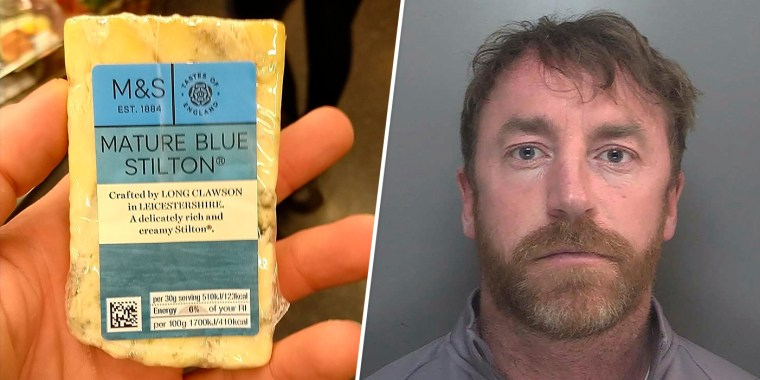 Carl Stewart, who has been jailed by British police on May 23, 2021, for 13 years and six months on various drugs charges after taking this image of blue cheese.