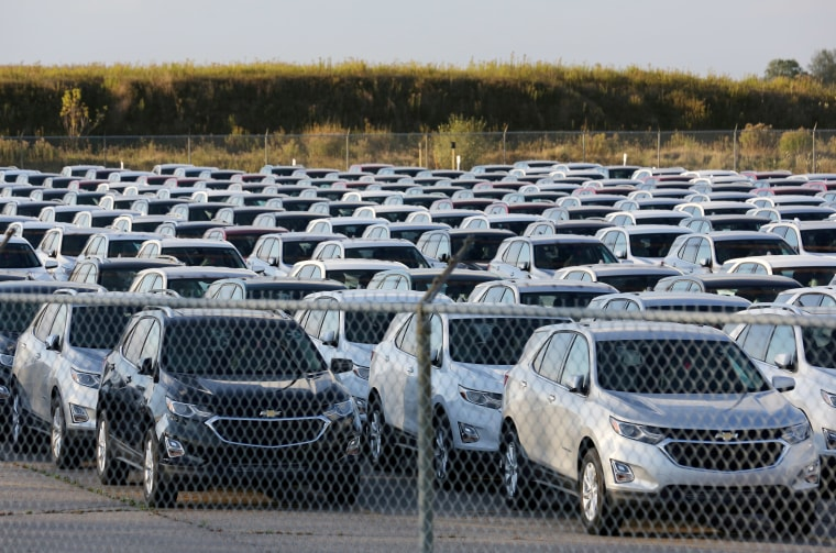 Chevrolet Equinox SUVs are parked awaiting shipment near the General Motors Co (GM) CAMI assembly plant in Ontario