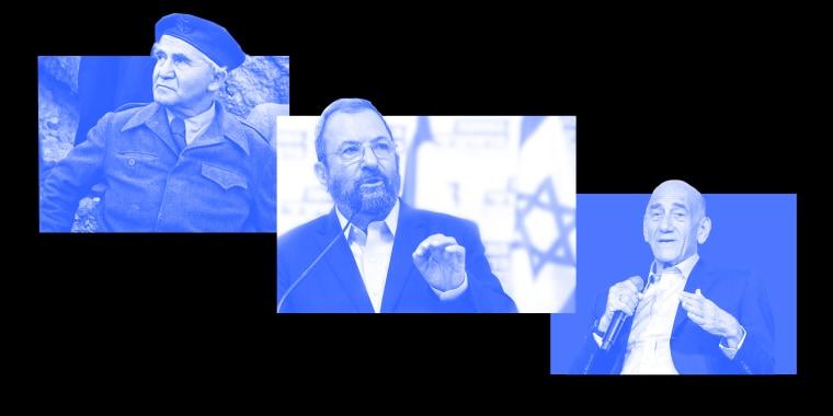 Photo collage: David Ben Gurion, Ehud Barak, Israel Ehud Olmert