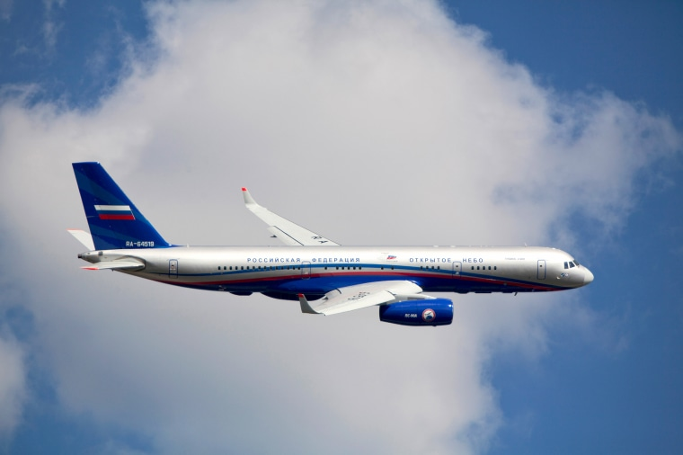 The Tupolev Tu-214ON jet aircraft equipped for participation in the Open Skies Treaty monitoring missions in the air on Aug. 18, 2011.