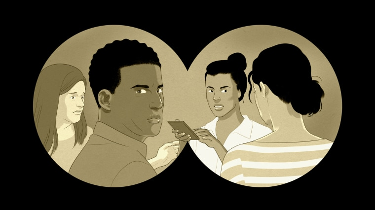 Illustration of a group of parents talking through the frame of binoculars. One parent is holding a phone.