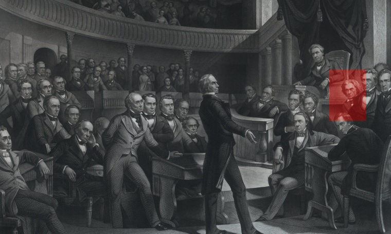Photo illustration: Red highlight over John C. Calhoun in an engraving of the United States Senate.