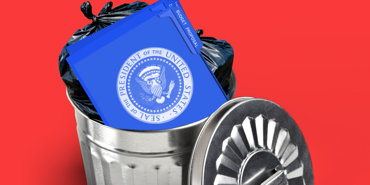Photo illustration: Blue folders with the U.S. presidential seal on them lying in a trash can.