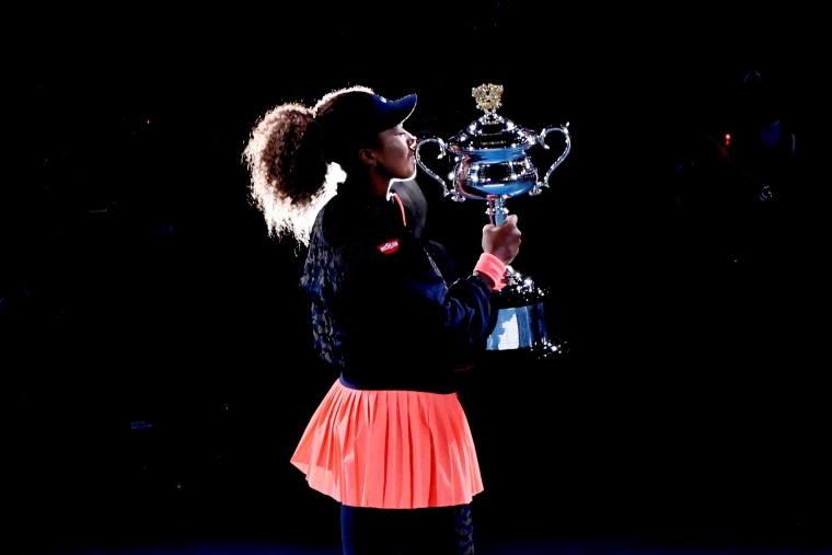 Image: Japan's Naomi Osaka celebrates after winning  the Australian Open in Melbourne on Feb. 20, 2021.