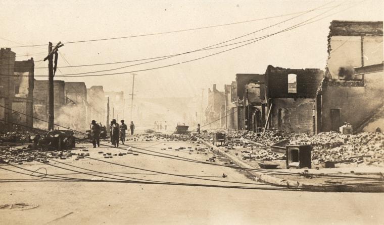Corner of Greenwood and Archer devastated in Tulsa, Okla., on June 1, 1921.