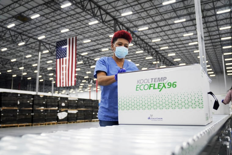 Boxes containing the Moderna vaccine are prepared to be shipped at the McKesson distribution center in Olive Branch, Miss., on December. 20, 2020.