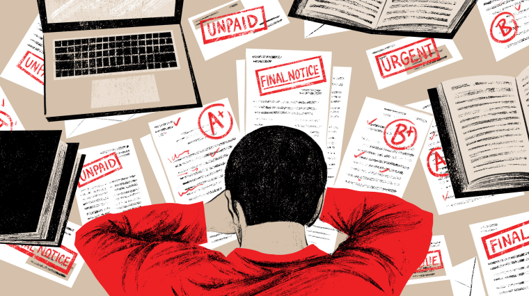 Illustration of person resting their head on a desk with graded papers and debt collection notices scattered on the desk.
