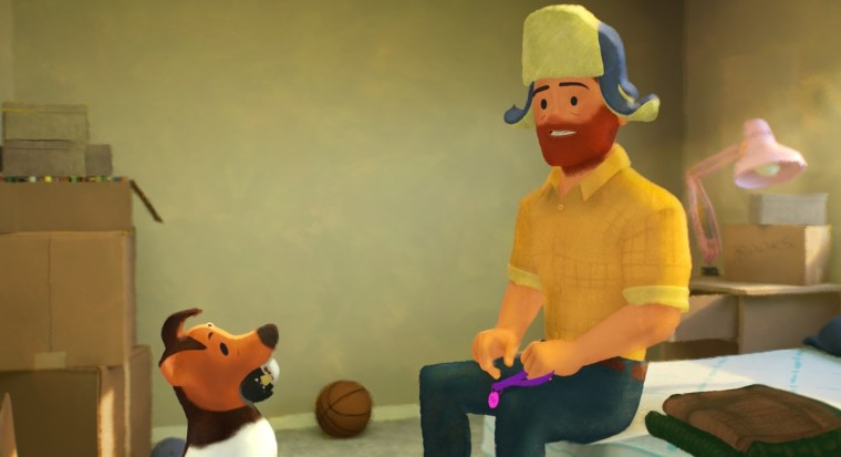 """Greg with his one of his fairy god-pets who encourage him to tell his parents the truth, in Pixar's SparkShorts series short film \""""Out.\"""""""