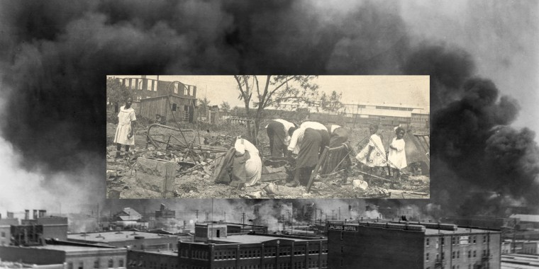 Photo illustration: Image of people searching through rubble after the Tulsa Race Massacre over an image of black smoke coming from the fire during the massacre.