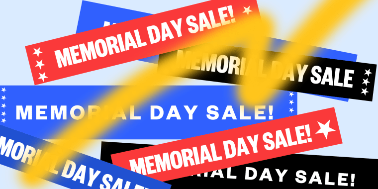 Illustration: Overlapping banners for Memorial Day Sale sprayed over by paint.