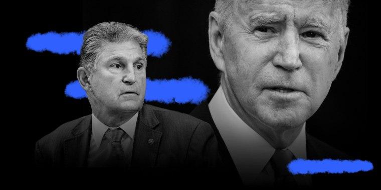 Photo illustration: Sen. Joe Manchin and President Joe Biden.