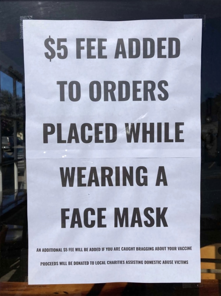 Image: Fiddleheads Cafe in Mendocino not only discourages wearing masks but also charges a penalty.