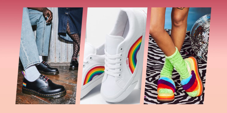 Illustration of Vans Pride Anaheim Factory Lampin 86 DX, Dr. Martens 1461 For Pride Smooth Leather Oxford Shoes, and the UGG Disco Stripe Slide